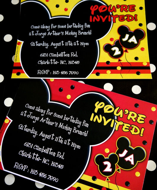 Cartoon Mouse Birthday Party Printable Invitations | BirdsParty.com