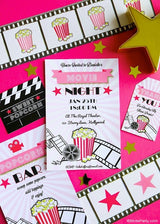 Movie Party Printable Invitations | BirdsParty.com