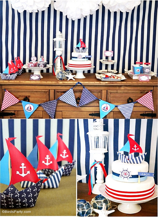 Nautical Theme Party Decorating Ideas Part - 21: ... Nautical Birthday Party Printables Supplies U0026 Decorations | BirdsParty.  ...