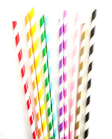 Paper Party Straws Stripes or Chevrons - Various Colors | BirdsParty.com