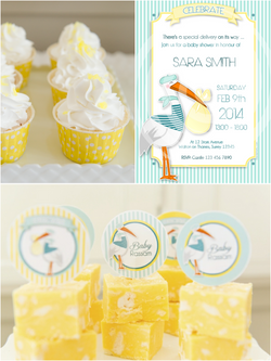 Stork Pink or Blue Baby Shower Party Printables Supplies & Decorations | BirdsParty.com