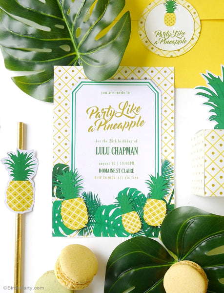 Pineapple Birthday Party Printable Invitations | BirdsParty.com