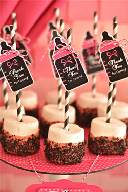 Glam Pink & Black Baby Shower Party Printables Supplies & Decorations | BirdsParty.com