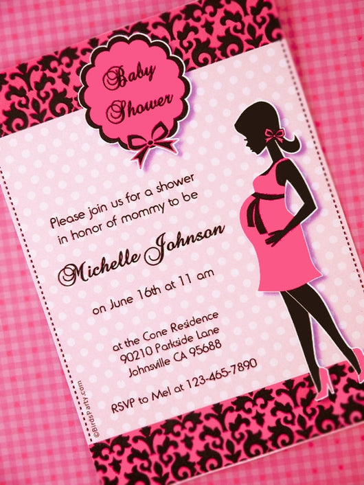 image relating to Invitations Printable identified as Glam Crimson Black Kid Shower Get together Printable Invites