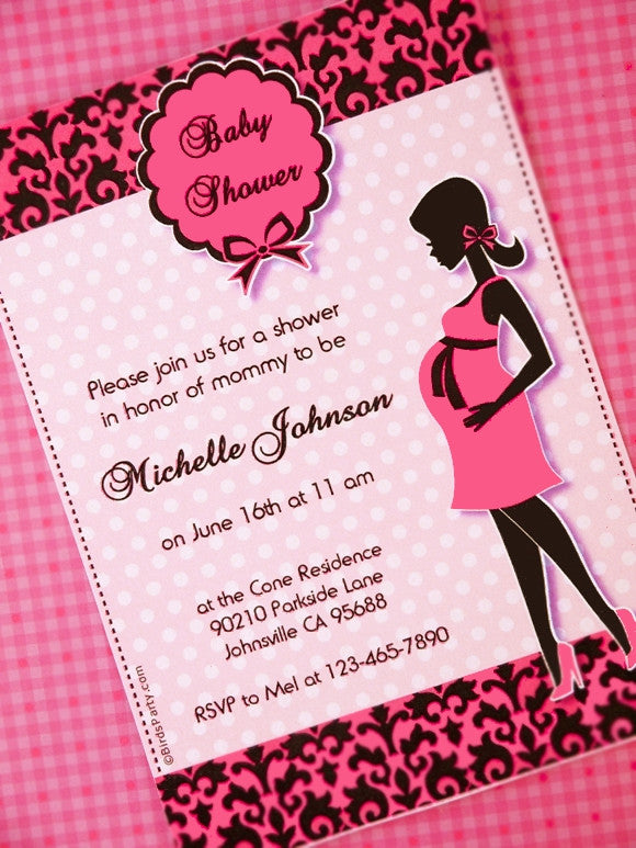 photograph regarding Printable Party Invite called Glam Crimson Black Child Shower Get together Printable Invites