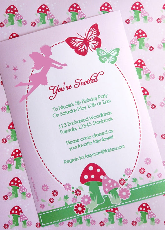 Pixie Fairy Pink Birthday Party Printable Invitations | BirdsParty.com
