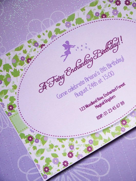 Pixie Fairy Lilac Birthday Party Printable Invitations | BirdsParty.com