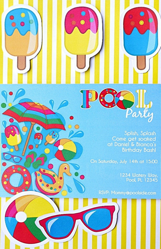 Pool Party Birthday Printable Invitations