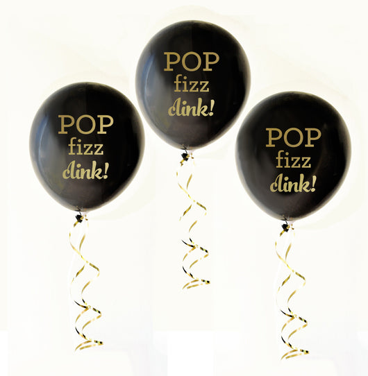 Pop Fizz Clink Party Balloons in Black with Gold Text | BirdsParty.com