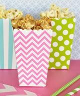 Popcorn Party Boxes in Stripes, Dots or Chevrons - Various Colors | BirdsParty.com