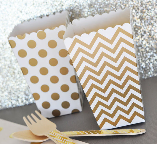 Popcorn Boxes Party Supplies - Dots, Stripes or Chevrons