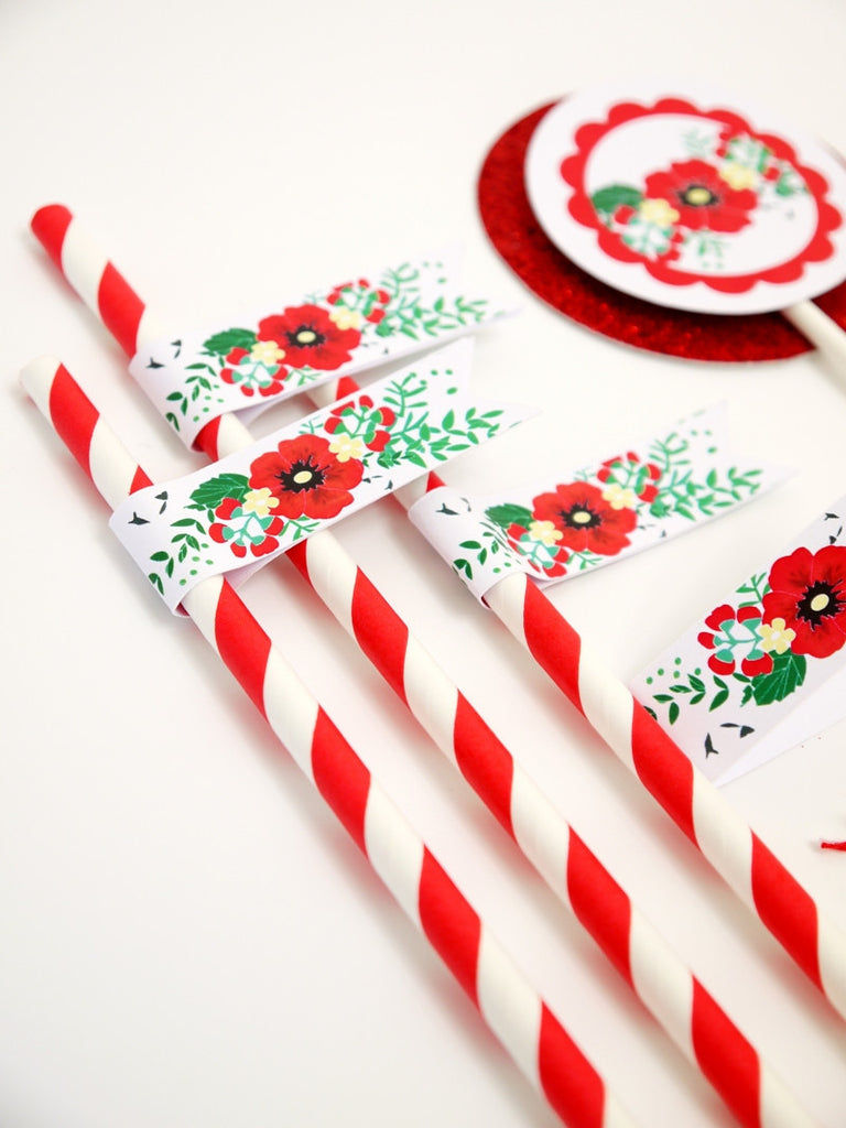 Poppy Garland Birthday Party Printables Supplies