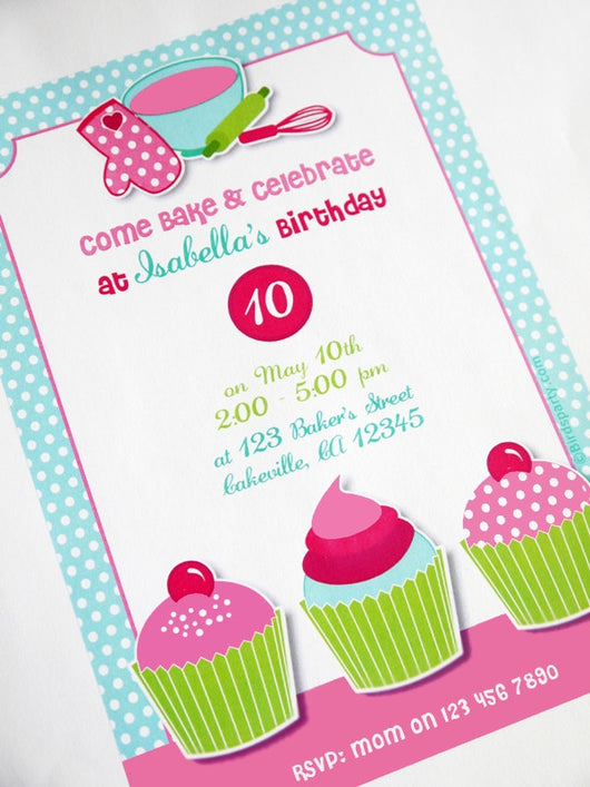 Cupcake Baking Birthday Party Printable Invitations | BirdsParty.com