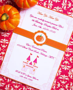 Pumpkin Princess Birthday Party Printable Invitations | BirdsParty.com