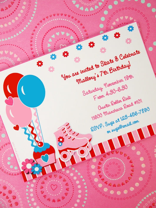 Roller Skates Birthday Party Printable Invitations | BirdsParty.com