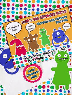 Little Monsters Birthday Party Printable Invitations | BirdsParty.com