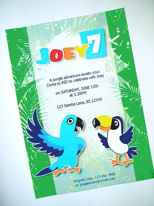Rio Birthday Party Printable Invitations | BirdsParty.com