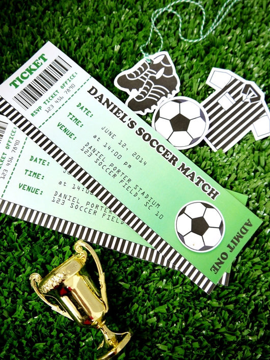 Football Soccer Birthday Party Printable Invitations