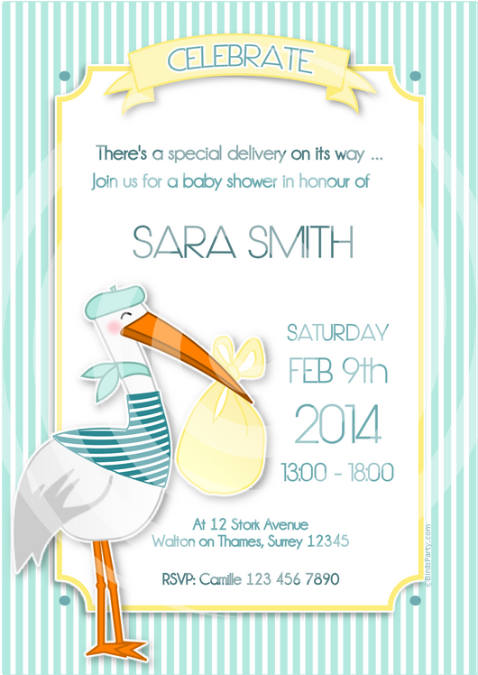 image relating to Baby Printable known as Stork Red or Blue Youngster Shower Get together Printable Invites