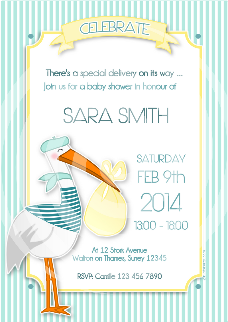 Stork Baby Shower Party Printables Invitations | BirdsParty.com