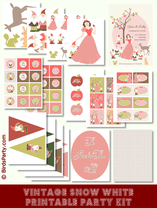 photo relating to Snow White Printable named Snow White Birthday Social gathering Printables Materials Decorations