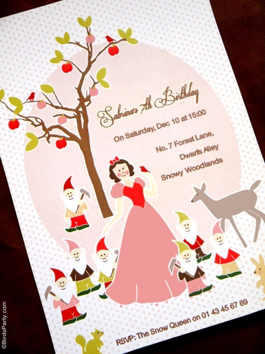 photograph relating to Snow White Invitations Printable titled Snow White Birthday Occasion Printable Invites