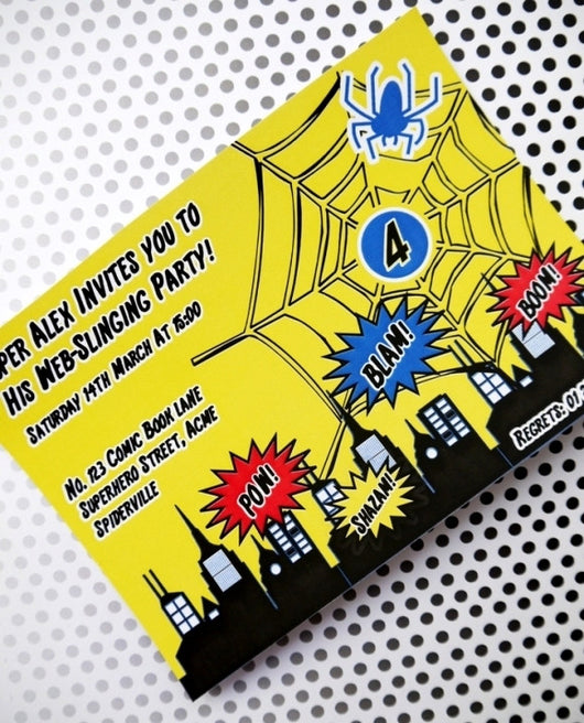 Spider Hero Birthday Party Printable Invitations | BirdsParty.com