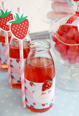 Strawberry Vintage Birthday Party Printables Supplies & Decorations | BirdsParty.com