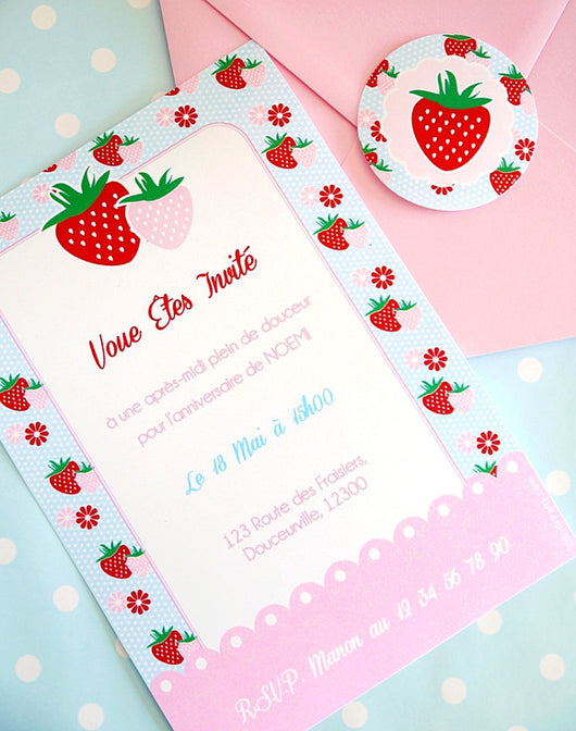Strawberry Vintage Birthday Party Printable Invitations | BirdsParty.com