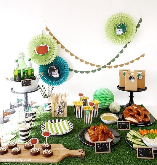 Super bowl birthday party printables supplies decor for Super bowl party items
