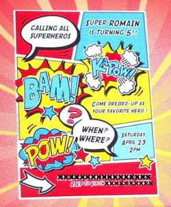 Superhero Birthday Party Printable Invitations | BirdsParty.com