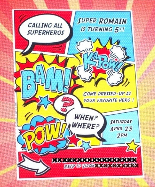 Superhero Birthday Party Printable Invitations
