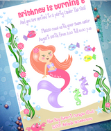 Under The Sea Mermaid Birthday Party Printable Invitations | BirdsParty.com