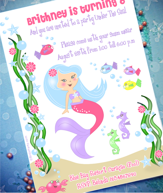 image relating to Pool Party Printable known as Beneath The Sea Mermaid Birthday Get together Printable Invites