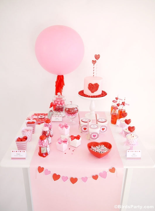 Valentine's Day Hearts Pink and Red party printables supplies sweet shop