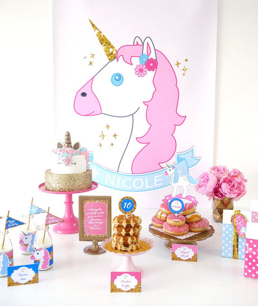 Unicorn Large Printable Birthday Party Poster | BirdsParty.com