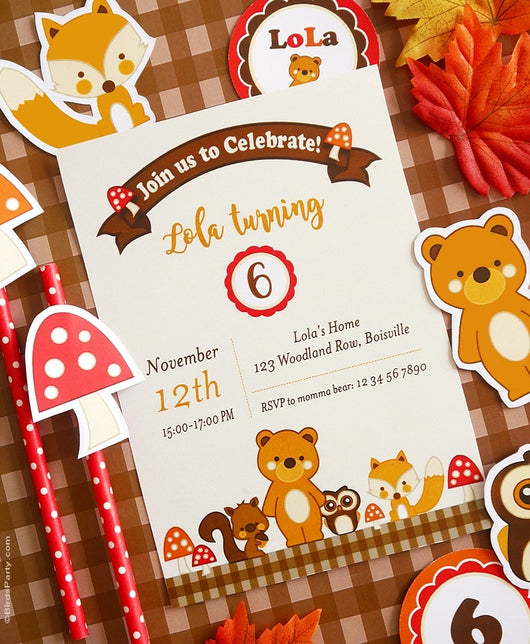 Woodland Birthday Party Printable Invitations | BirdsParty.com