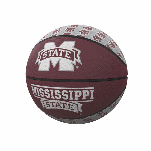 Mississippi State Repeating Logo Mini-Size Rubber Basketball
