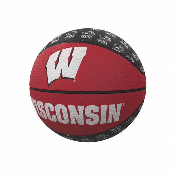 Wisconsin Repeating Logo Mini-Size Rubber Basketball