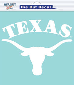 Texas Longhorns Decal 8x8 Die Cut White