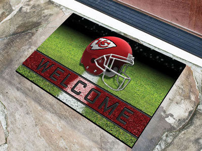 Kansas City Chiefs Door Mat 18x30 Welcome Crumb Rubber