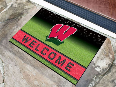 Wisconsin Badgers Door Mat 18x30 Welcome Crumb Rubber