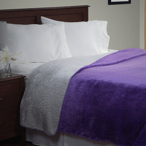 Lavish Home Super Warm Flannel-Like Reversible Blanket-F/Q-Purple/Grey - Algoma Retail