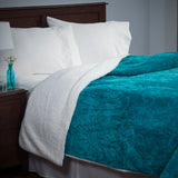 Lavish Home Floral Etched Fleece Blanket with Sherpa-F/Q-Teal - Algoma Retail