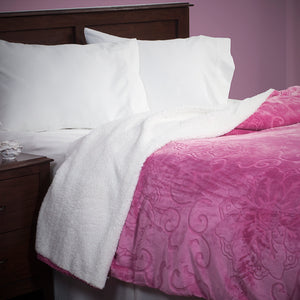 Lavish Home Floral Etched Fleece Blanket with Sherpa-F/Q-Pink - Algoma Retail