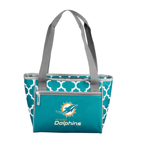 Miami Dolphins Quatrefoil 16 Can Cooler Tote