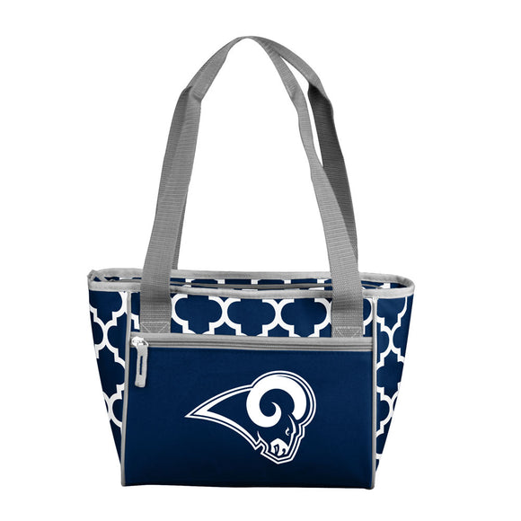 LA Rams Navy/White Quatrefoil 16 Can Cooler Tote