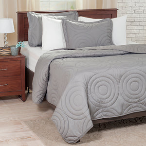 Lavish Home Solid Embossed 2 Piece Quilt Set - Twin - Silver - Algoma Retail