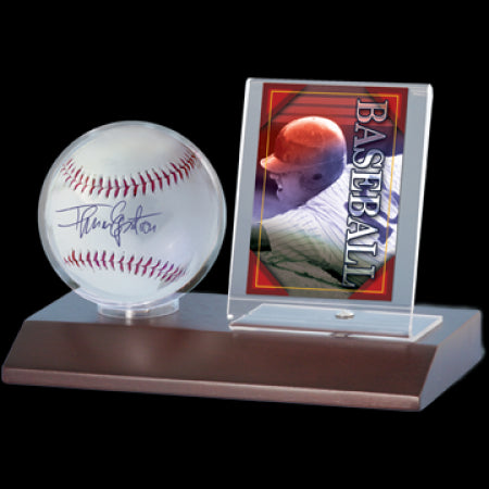 Wood Baseball & Card Holder - Dark Wood