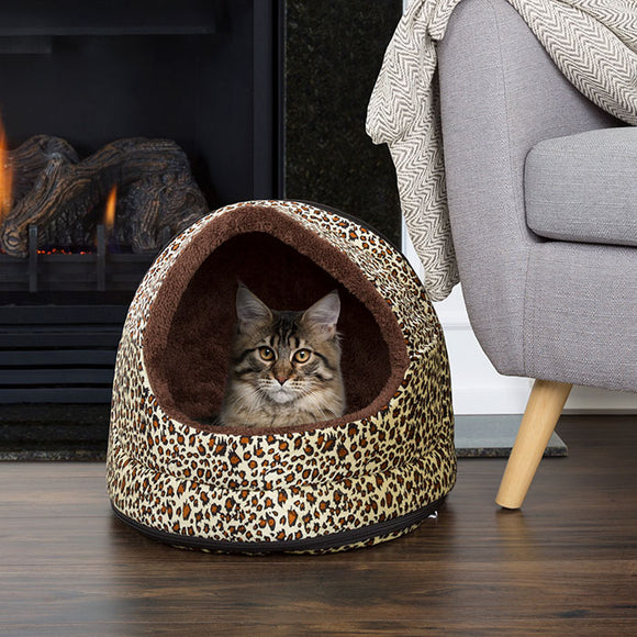 PETMAKER Furry Canopy Pet Cave Bed - Cheetah
